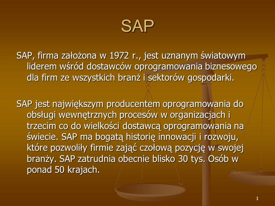 62 Zastosowano system: SAP R/3, wersja 4.6B W systemie zainstalowano następujące moduły: Basis Rachunkowość finansowa Księgowość składników majątku trwałego Zarządzanie płynnością finansową Kontroling Gospodarka materiałowa Sprzedaż i dystrybucja