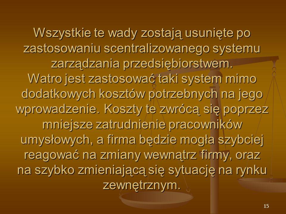 15 Wszystkie te wady zostają usunięte po zastosowaniu scentralizowanego systemu zarządzania przedsiębiorstwem. Watro jest zastosować taki system mimo