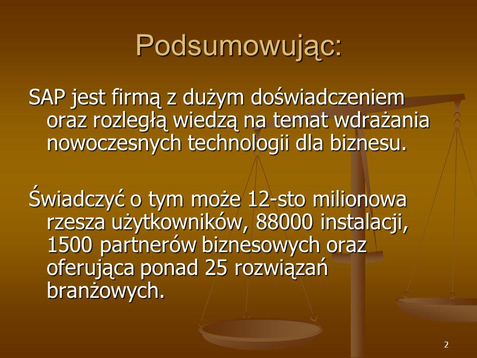 3 Rodzaje oferowanych rozwiązań: Rozwiązania dla dużych przedsiębiorstw (firmy i przedsiębiorstwa zatrudniające ponad 250 osób, oraz mające ponad 50mln USD przychodu rocznie) Do tych rozwiązań zaliczamy: SAP ERP SAP ERP mySAP Business Suite (do 2003 było to rozwiązanie mySAP.com) mySAP Business Suite (do 2003 było to rozwiązanie mySAP.com) Rozwiązania dla małych i średnich firm (firmy zatrudniające od 10 do 250 osób z przychodem mniejszym niż 50mln USD rocznie) Do tych rozwiązań zaliczamy: Do tych rozwiązań zaliczamy: SAP Business One SAP Business One mySAP All-in-One mySAP All-in-One