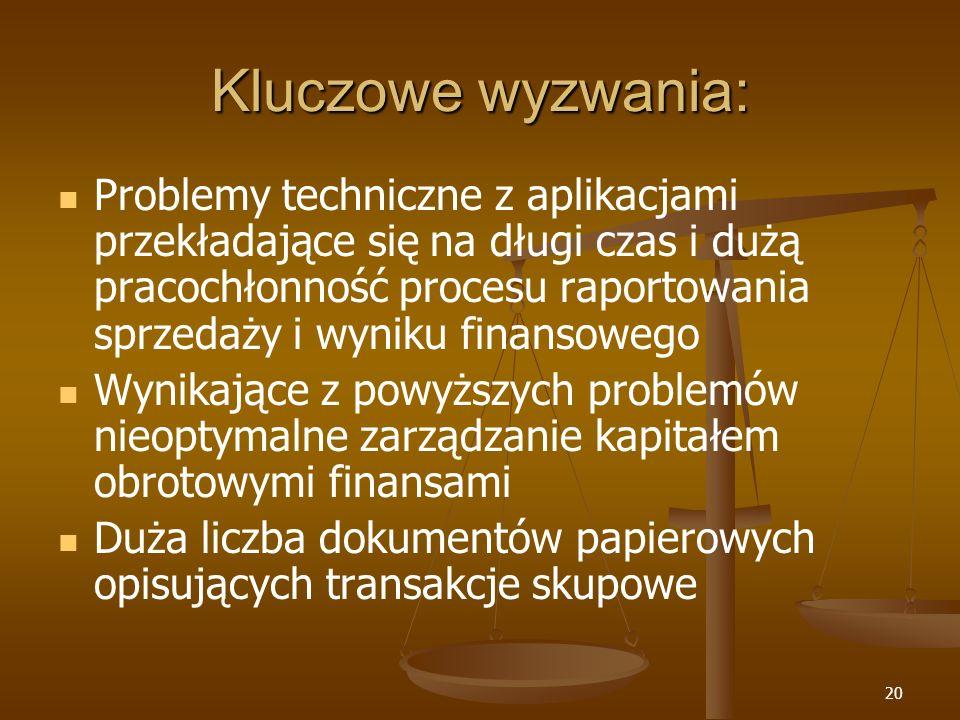 20 Kluczowe wyzwania: Problemy techniczne z aplikacjami przekładające się na długi czas i dużą pracochłonność procesu raportowania sprzedaży i wyniku
