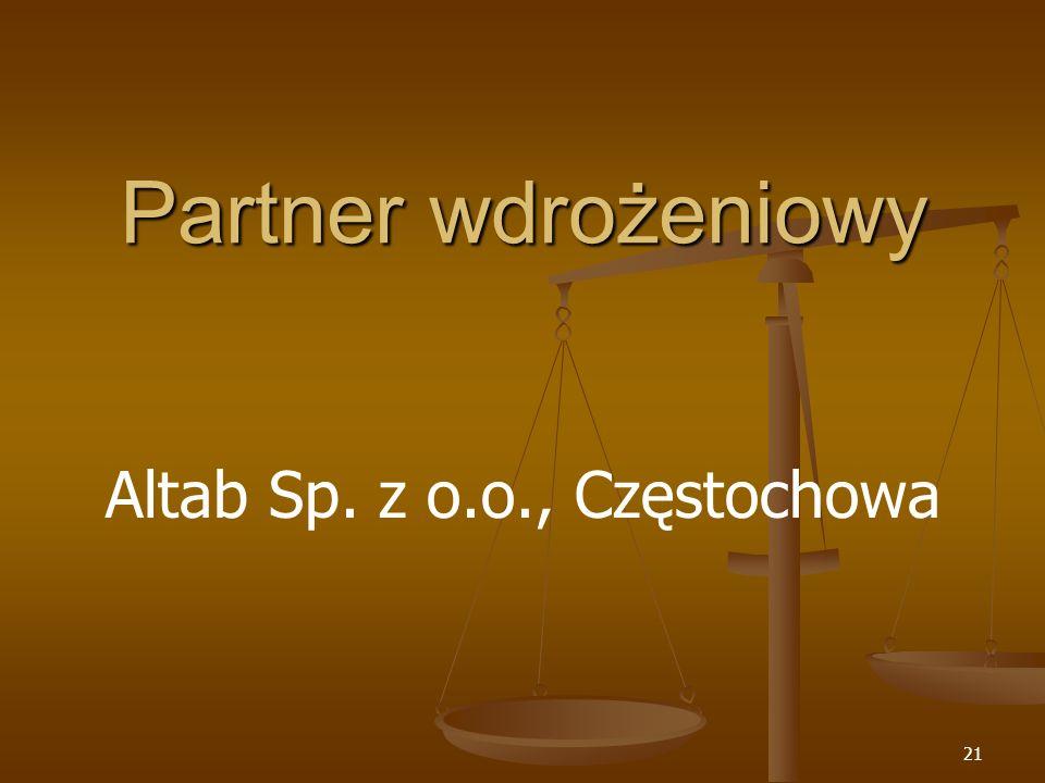 21 Partner wdrożeniowy Altab Sp. z o.o., Częstochowa