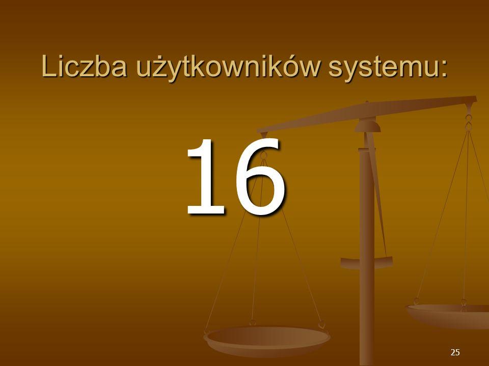 25 Liczba użytkowników systemu: 16