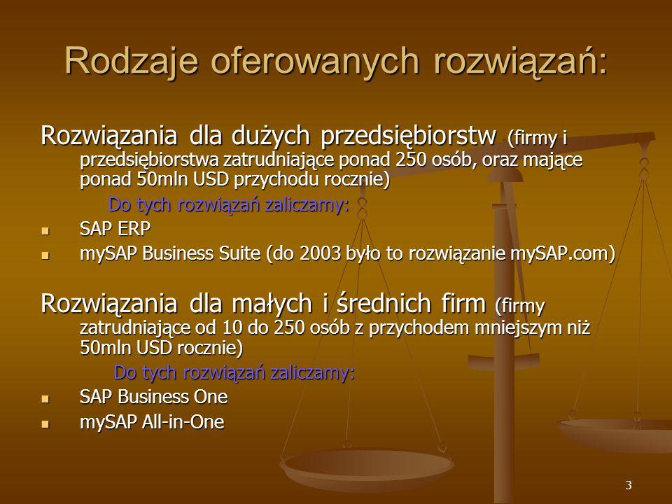 4 Rozwiązania dla dużych przedsiębiorstw mySAP Business Suite - to kompleksowy zbiór adaptacyjnych rozwiązań biznesowych, służący do optymalizacji najbardziej krytycznych procesów biznesowych; może w pełni integrować się z dowolnym systemem w sposób wirtualny.