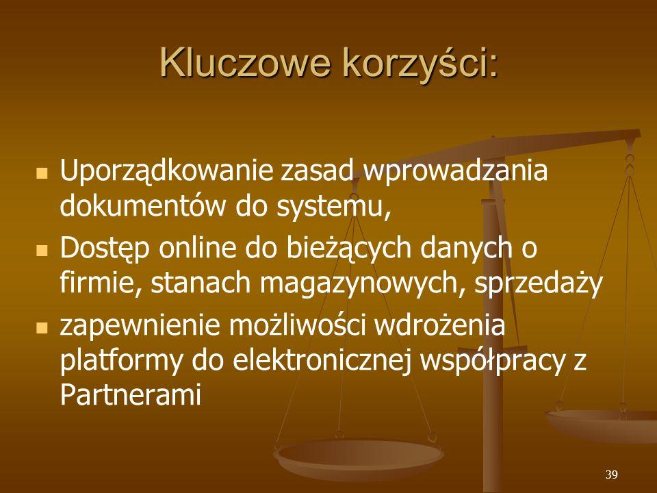 39 Kluczowe korzyści: Uporządkowanie zasad wprowadzania dokumentów do systemu, Dostęp online do bieżących danych o firmie, stanach magazynowych, sprze