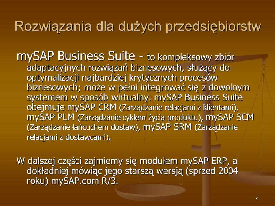 4 Rozwiązania dla dużych przedsiębiorstw mySAP Business Suite - to kompleksowy zbiór adaptacyjnych rozwiązań biznesowych, służący do optymalizacji naj