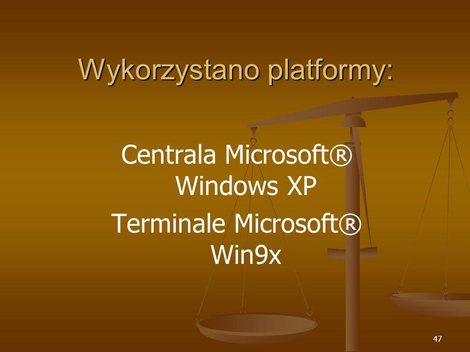 47 Wykorzystano platformy: Centrala Microsoft® Windows XP Terminale Microsoft® Win9x