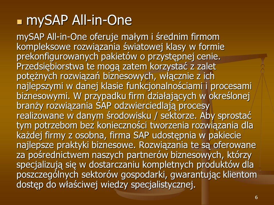 6 mySAP All-in-One mySAP All-in-One mySAP All-in-One oferuje małym i średnim firmom kompleksowe rozwiązania światowej klasy w formie prekonfigurowanyc
