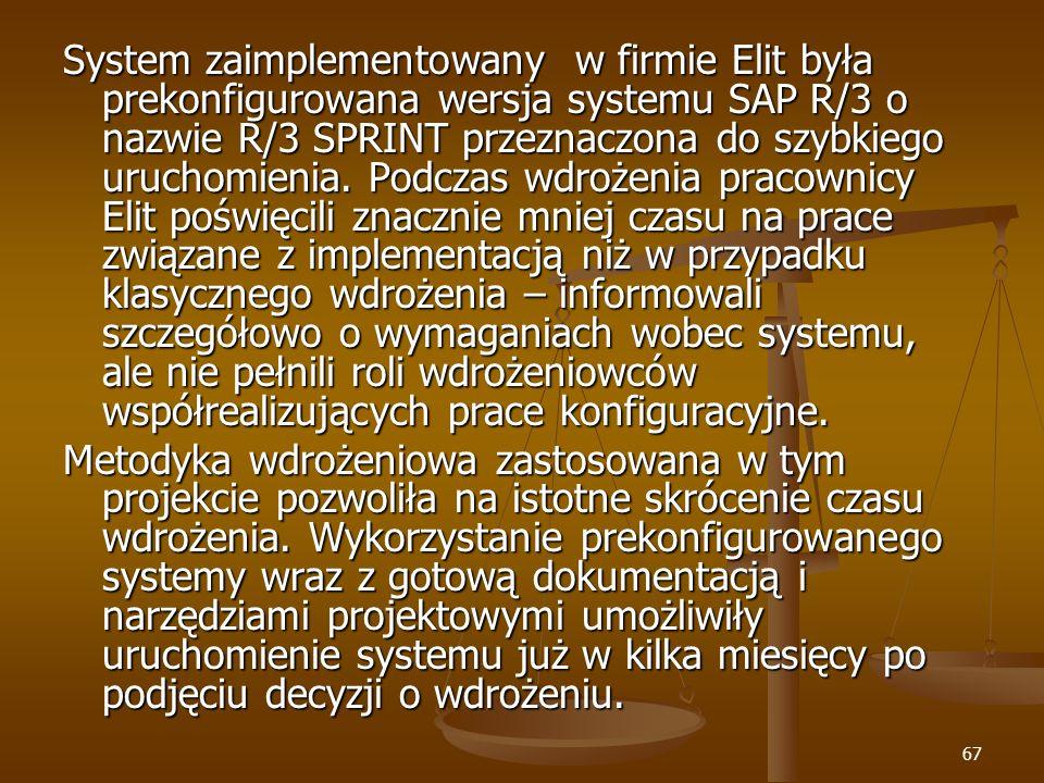 67 System zaimplementowany w firmie Elit była prekonfigurowana wersja systemu SAP R/3 o nazwie R/3 SPRINT przeznaczona do szybkiego uruchomienia. Podc