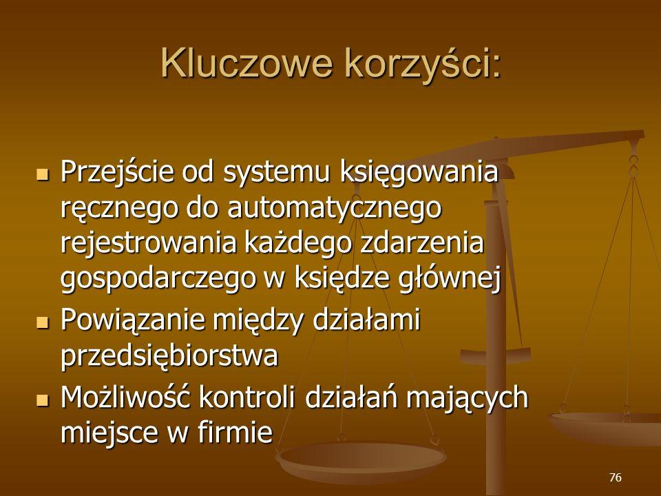 76 Kluczowe korzyści: Przejście od systemu księgowania ręcznego do automatycznego rejestrowania każdego zdarzenia gospodarczego w księdze głównej Prze