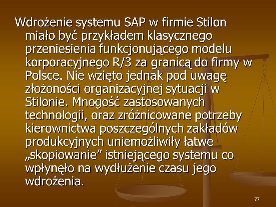 77 Wdrożenie systemu SAP w firmie Stilon miało być przykładem klasycznego przeniesienia funkcjonującego modelu korporacyjnego R/3 za granicą do firmy