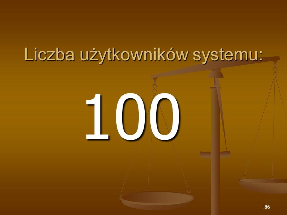 86 Liczba użytkowników systemu: 100