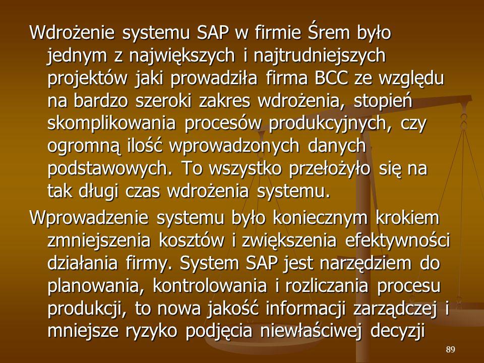 89 Wdrożenie systemu SAP w firmie Śrem było jednym z największych i najtrudniejszych projektów jaki prowadziła firma BCC ze względu na bardzo szeroki