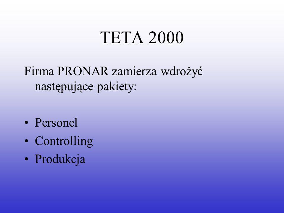 TETA 2000 Firma PRONAR zamierza wdrożyć następujące pakiety: Personel Controlling Produkcja