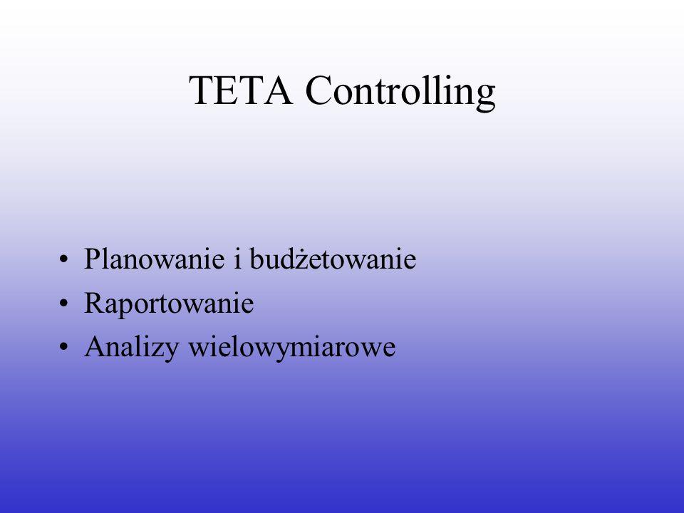 TETA Controlling Planowanie i budżetowanie Raportowanie Analizy wielowymiarowe