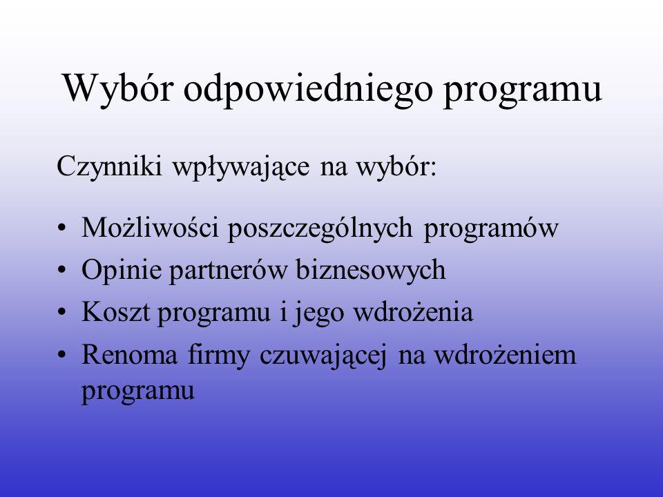 Wybór odpowiedniego programu Czynniki wpływające na wybór: Możliwości poszczególnych programów Opinie partnerów biznesowych Koszt programu i jego wdro