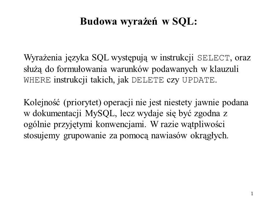 1 Budowa wyrażeń w SQL: Wyrażenia języka SQL występują w instrukcji SELECT, oraz służą do formułowania warunków podawanych w klauzuli WHERE instrukcji