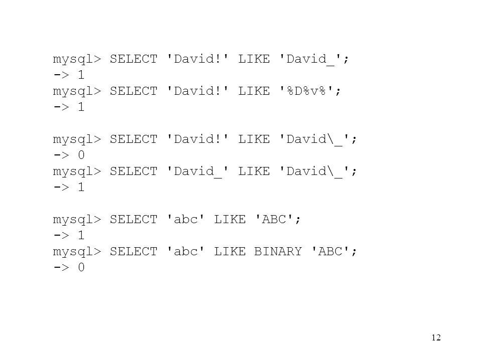 12 mysql> SELECT 'David!' LIKE 'David_'; -> 1 mysql> SELECT 'David!' LIKE '%D%v%'; -> 1 mysql> SELECT 'David!' LIKE 'David\_'; -> 0 mysql> SELECT 'Dav