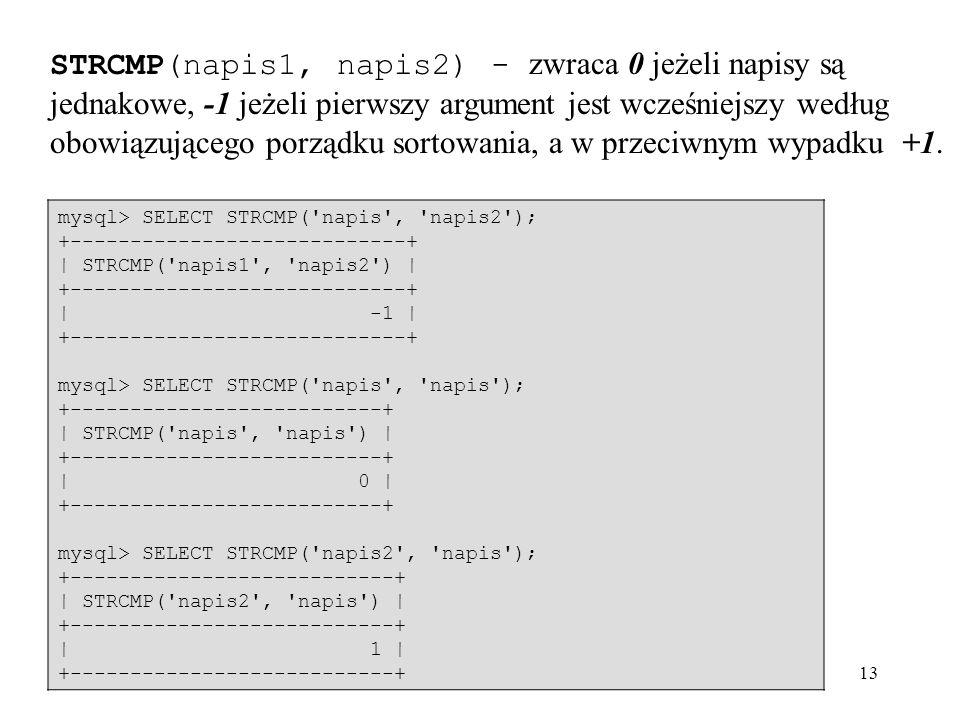 13 STRCMP(napis1, napis2) - zwraca 0 jeżeli napisy są jednakowe, -1 jeżeli pierwszy argument jest wcześniejszy według obowiązującego porządku sortowan