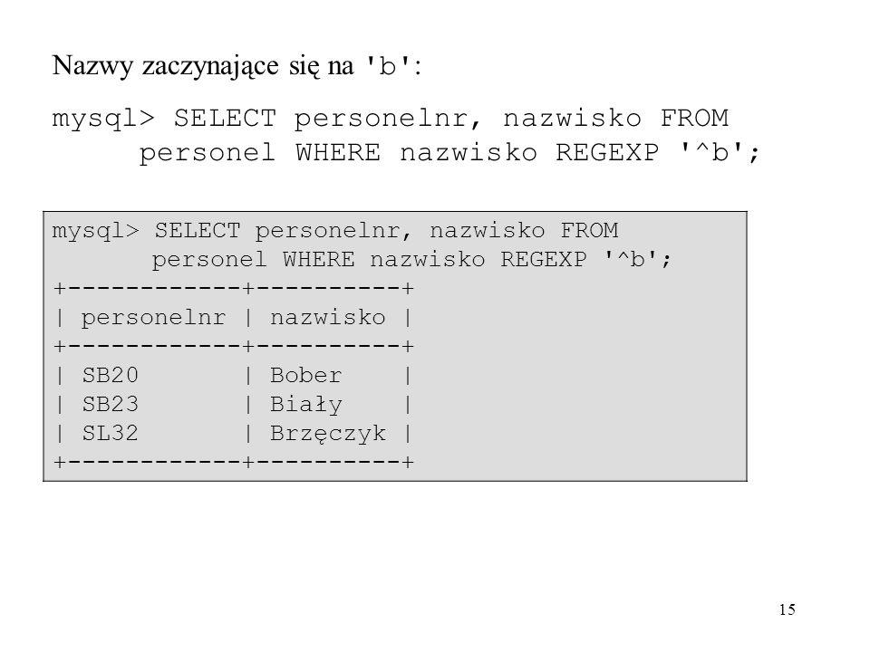 15 Nazwy zaczynające się na 'b' : mysql> SELECT personelnr, nazwisko FROM personel WHERE nazwisko REGEXP '^b'; +------------+----------+ | personelnr