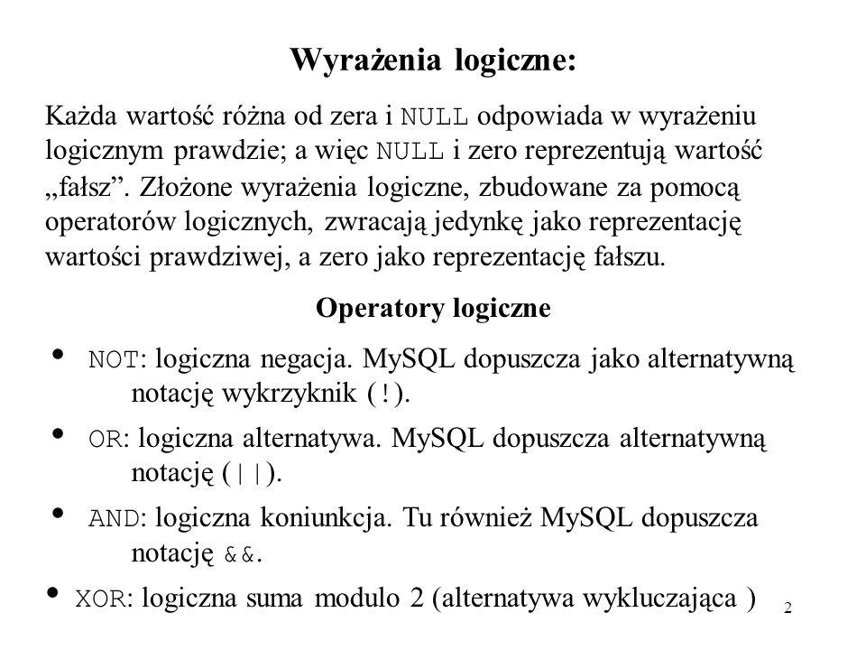 23 EXP() mysql> SELECT EXP(2); -> 7.3890560989307 mysql> SELECT EXP(-2); -> 0.13533528323661 mysql> SELECT EXP(0); -> 1 FLOOR() mysql> SELECT FLOOR(1.23); -> 1 mysql> SELECT FLOOR(-1.23); -> -2 LN() synonim LOG() mysql> SELECT LN(2); -> 0.69314718055995 mysql> SELECT LN(-2); -> NULL