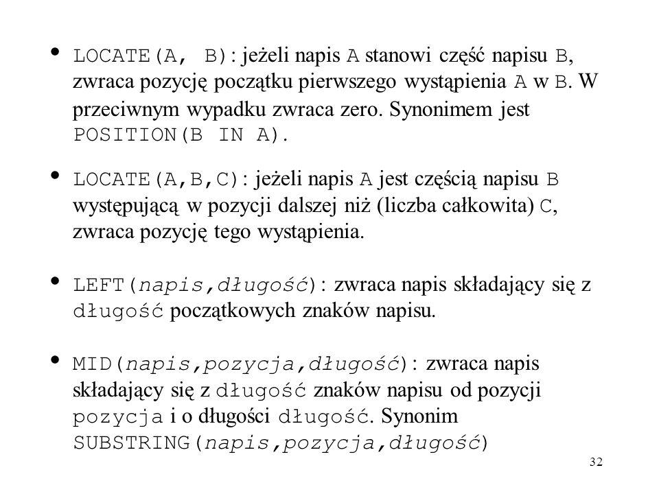 32 LOCATE(A, B) : jeżeli napis A stanowi część napisu B, zwraca pozycję początku pierwszego wystąpienia A w B. W przeciwnym wypadku zwraca zero. Synon