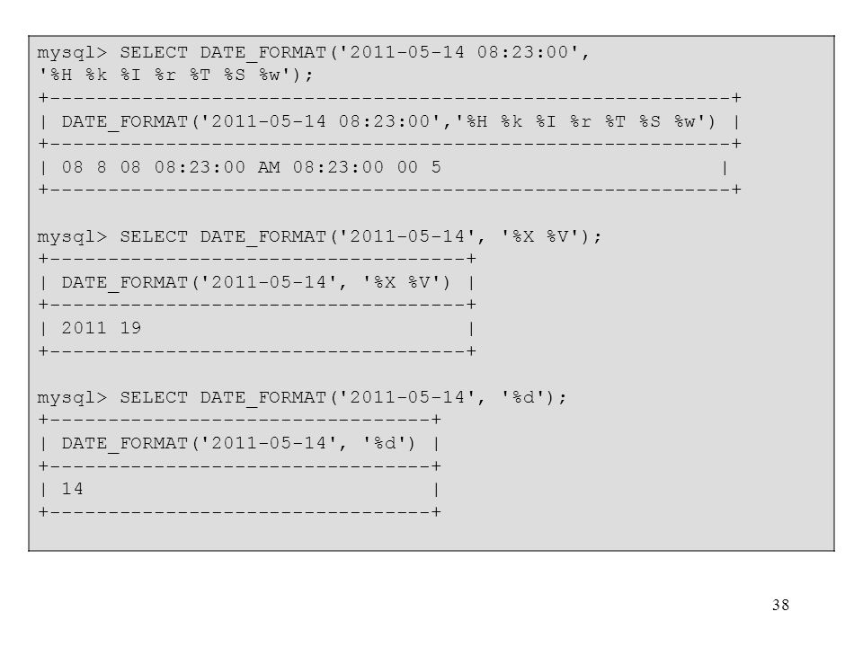 38 mysql> SELECT DATE_FORMAT('2011-05-14 08:23:00', '%H %k %I %r %T %S %w'); +-----------------------------------------------------------+ | DATE_FORM