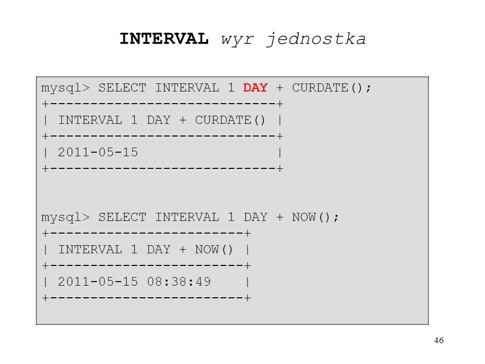 46 mysql> SELECT INTERVAL 1 DAY + CURDATE(); +----------------------------+ | INTERVAL 1 DAY + CURDATE() | +----------------------------+ | 2011-05-15