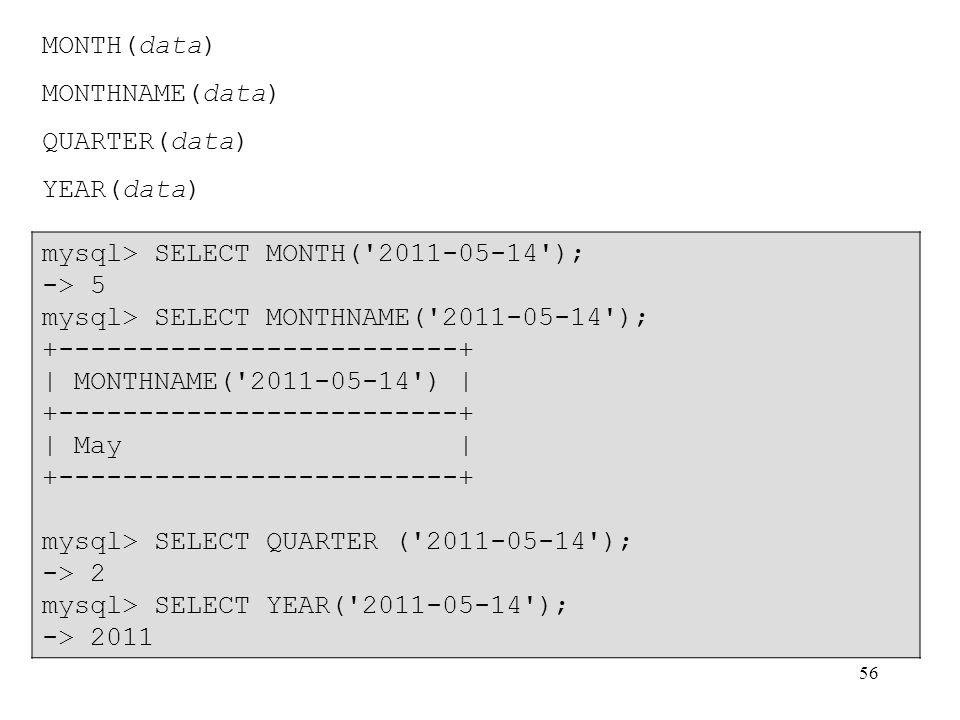 56 MONTH(data) MONTHNAME(data) QUARTER(data) YEAR(data) mysql> SELECT MONTH('2011-05-14'); -> 5 mysql> SELECT MONTHNAME('2011-05-14'); +--------------