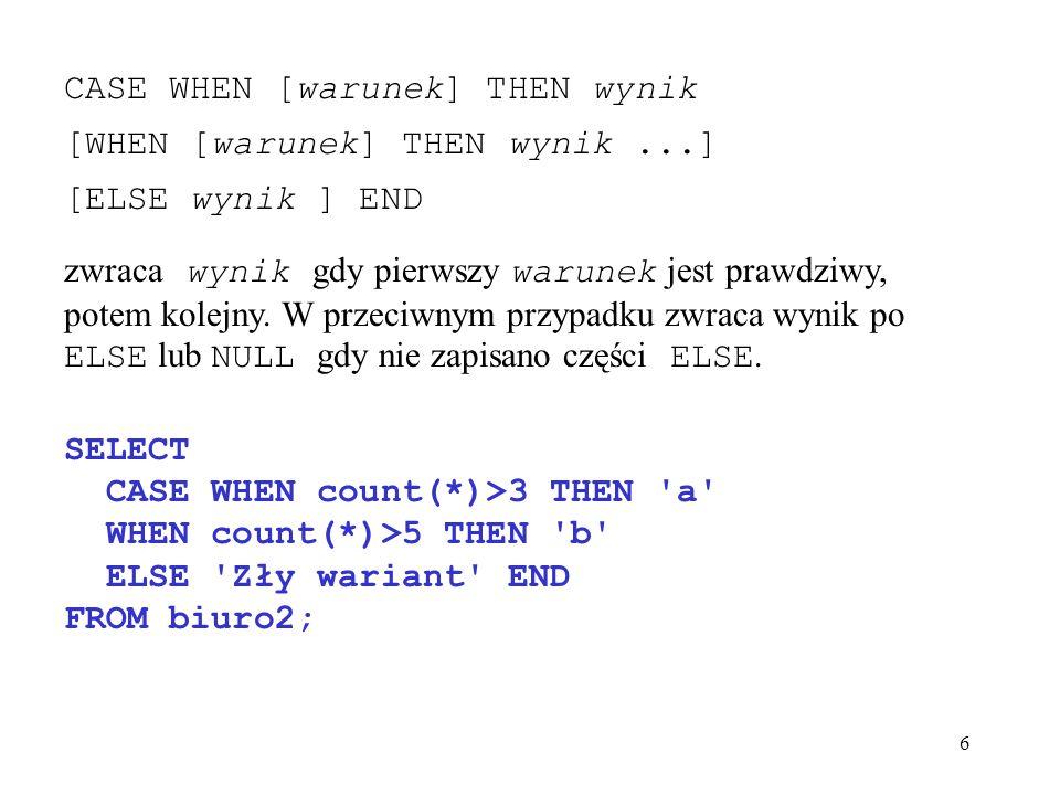 67 mysql> SELECT nazwisko, stanowisko, pensja -> FROM personel -> WHERE biuronr = B003 -> ORDER BY nazwisko; +------------+------------+--------+ | nazwisko | stanowisko | pensja | +------------+------------+--------+ | Biały | asystent | 1200 | | Bober | dyrektor | 2400 | | Frankowski | kierownik | 1800 | | Kowalska | asystent | 1000 | +------------+------------+--------+