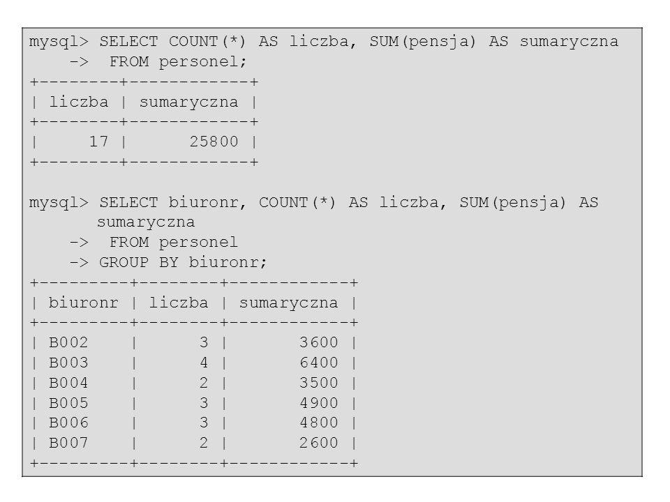 70 mysql> SELECT COUNT(*) AS liczba, SUM(pensja) AS sumaryczna -> FROM personel; +--------+------------+ | liczba | sumaryczna | +--------+-----------