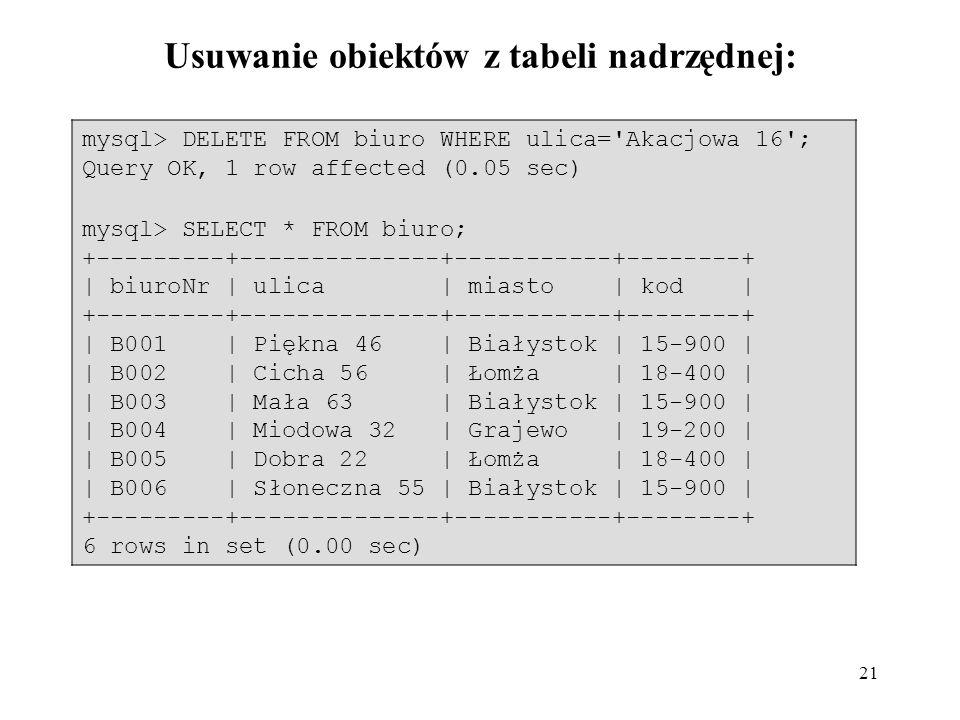 21 Usuwanie obiektów z tabeli nadrzędnej: mysql> DELETE FROM biuro WHERE ulica='Akacjowa 16'; Query OK, 1 row affected (0.05 sec) mysql> SELECT * FROM