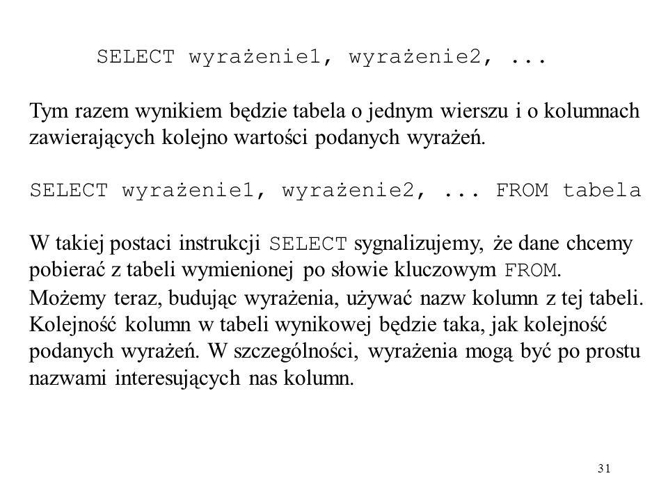 31 SELECT wyrażenie1, wyrażenie2,... Tym razem wynikiem będzie tabela o jednym wierszu i o kolumnach zawierających kolejno wartości podanych wyrażeń.