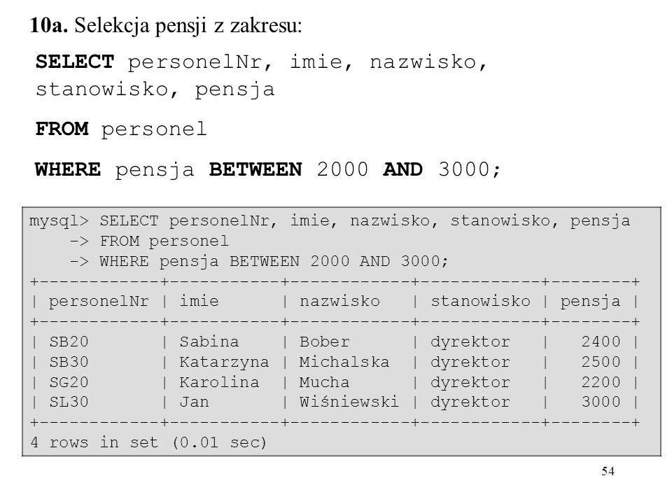 54 SELECT personelNr, imie, nazwisko, stanowisko, pensja FROM personel WHERE pensja BETWEEN 2000 AND 3000; 10a. Selekcja pensji z zakresu: mysql> SELE