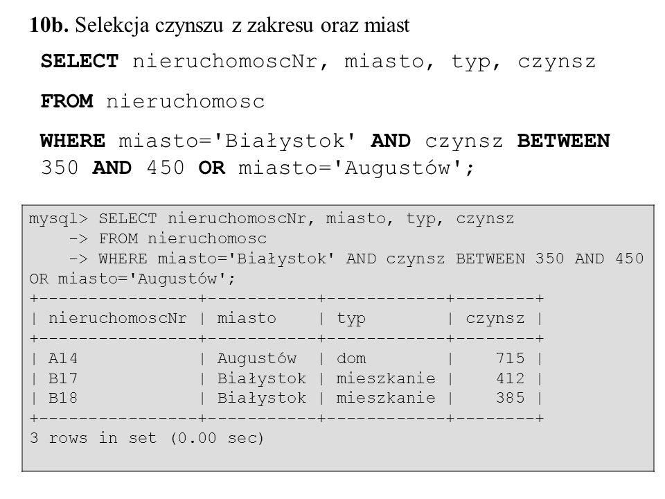 56 SELECT nieruchomoscNr, miasto, typ, czynsz FROM nieruchomosc WHERE miasto='Białystok' AND czynsz BETWEEN 350 AND 450 OR miasto='Augustów'; mysql> S