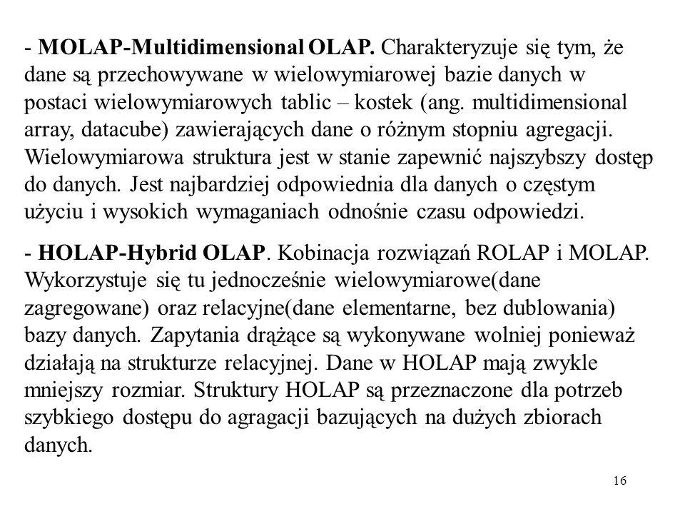 16 - MOLAP-Multidimensional OLAP.