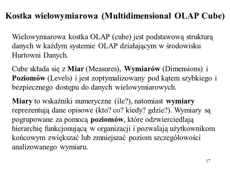 17 Kostka wielowymiarowa (Multidimensional OLAP Cube) Wielowymiarowa kostka OLAP (cube) jest podstawową strukturą danych w każdym systemie OLAP działającym w środowisku Hurtowni Danych.