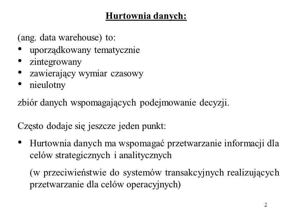 3 Hurtownia danych – rodzaj bazy danych, która jest zorganizowana i zoptymalizowana pod kątem pewnego wycinka rzeczywistości.