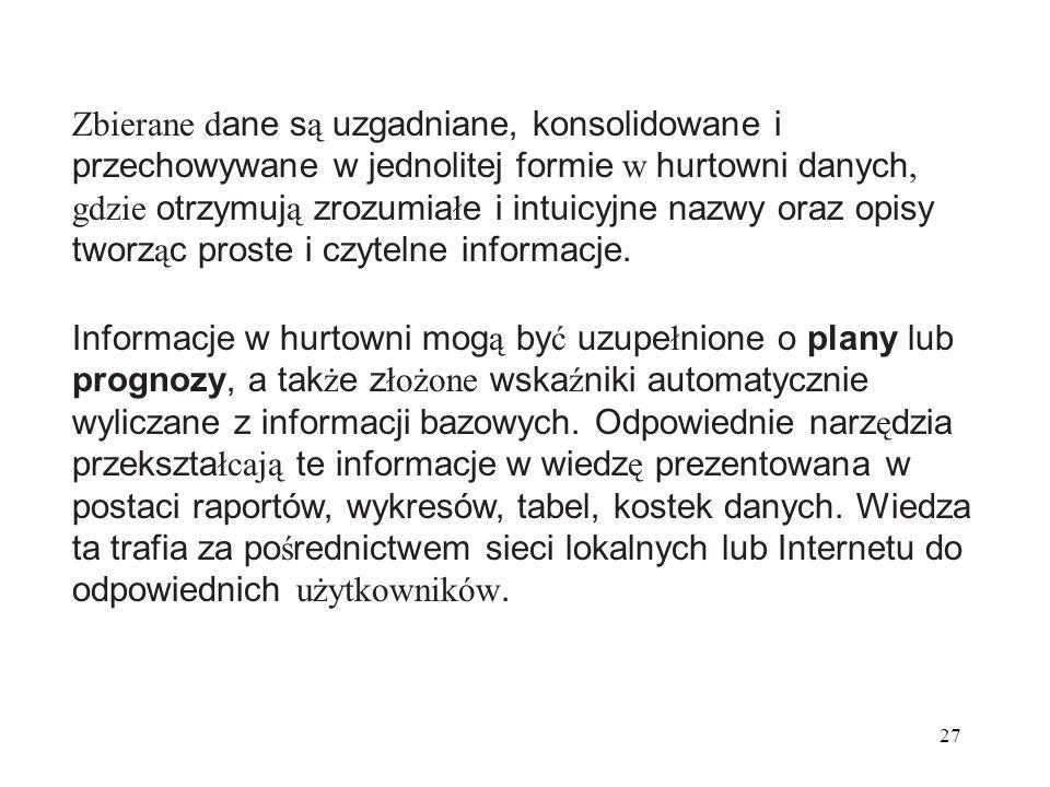 27 Zbierane d ane s ą uzgadniane, konsolidowane i przechowywane w jednolitej formie w hurtowni danych, gdzie otrzymuj ą zrozumia ł e i intuicyjne nazwy oraz opisy tworz ą c proste i czytelne informacje.