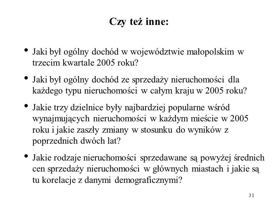 31 Czy też inne: Jaki był ogólny dochód w województwie małopolskim w trzecim kwartale 2005 roku.