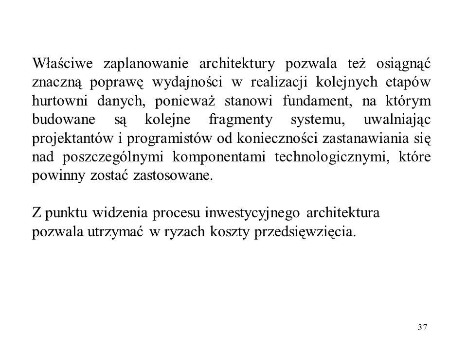 37 Właściwe zaplanowanie architektury pozwala też osiągnąć znaczną poprawę wydajności w realizacji kolejnych etapów hurtowni danych, ponieważ stanowi fundament, na którym budowane są kolejne fragmenty systemu, uwalniając projektantów i programistów od konieczności zastanawiania się nad poszczególnymi komponentami technologicznymi, które powinny zostać zastosowane.