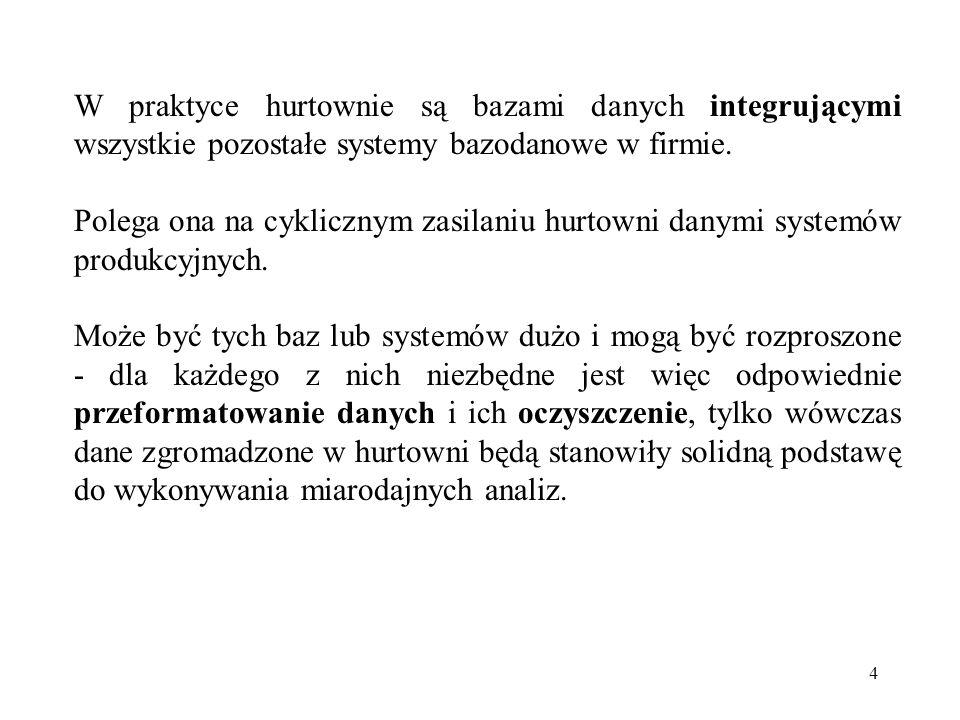 4 W praktyce hurtownie są bazami danych integrującymi wszystkie pozostałe systemy bazodanowe w firmie.