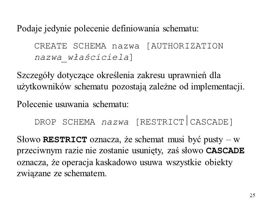 25 Podaje jedynie polecenie definiowania schematu: CREATE SCHEMA nazwa [AUTHORIZATION nazwa_właściciela] Szczegóły dotyczące określenia zakresu uprawn