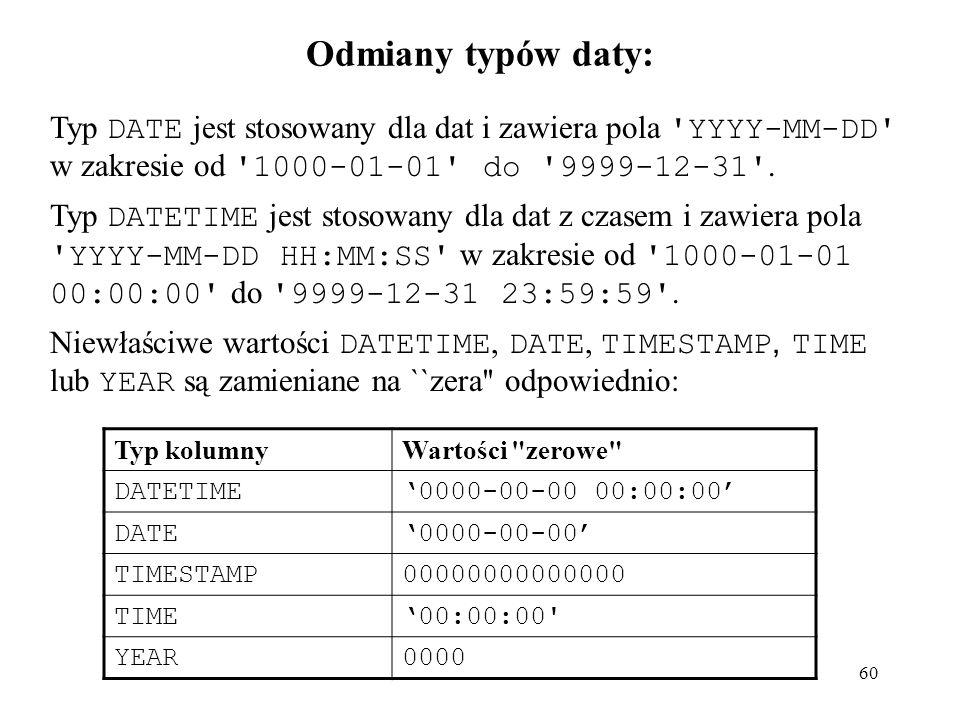 60 Odmiany typów daty: Typ DATE jest stosowany dla dat i zawiera pola 'YYYY-MM-DD' w zakresie od '1000-01-01' do '9999-12-31'. Typ DATETIME jest stoso
