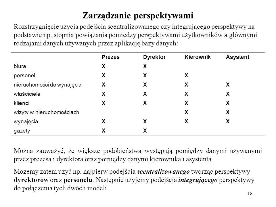 18 Zarządzanie perspektywami Rozstrzygnięcie użycia podejścia scentralizowanego czy integrującego perspektywy na podstawie np. stopnia powiązania pomi