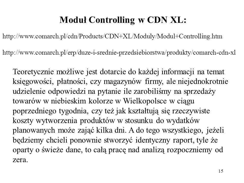 15 Moduł Controlling w CDN XL: http://www.comarch.pl/cdn/Products/CDN+XL/Moduly/Modul+Controlling.htm http://www.comarch.pl/erp/duze-i-srednie-przedsiebiorstwa/produkty/comarch-cdn-xl Teoretycznie możliwe jest dotarcie do każdej informacji na temat księgowości, płatności, czy magazynów firmy, ale niejednokrotnie udzielenie odpowiedzi na pytanie ile zarobiliśmy na sprzedaży towarów w niebieskim kolorze w Wielkopolsce w ciągu poprzedniego tygodnia, czy też jak kształtują się rzeczywiste koszty wytworzenia produktów w stosunku do wydatków planowanych może zająć kilka dni.