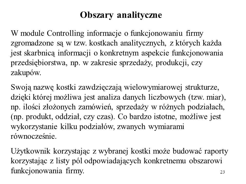 23 Obszary analityczne W module Controlling informacje o funkcjonowaniu firmy zgromadzone są w tzw.