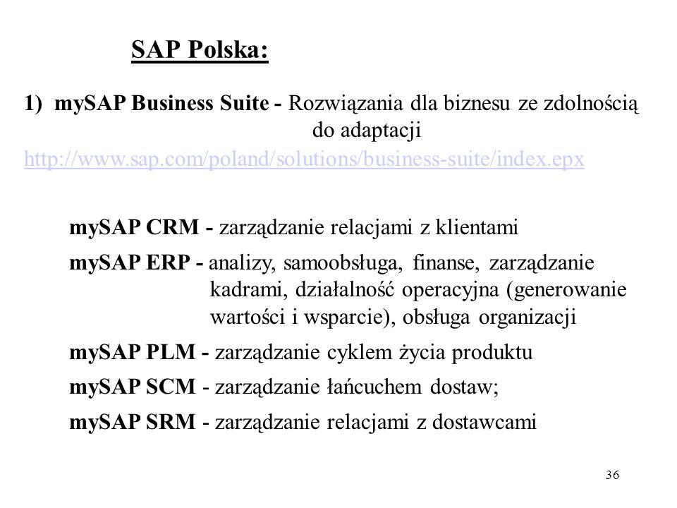 36 SAP Polska: 1) mySAP Business Suite - Rozwiązania dla biznesu ze zdolnością do adaptacji http://www.sap.com/poland/solutions/business-suite/index.epx mySAP CRM - zarządzanie relacjami z klientami mySAP ERP - analizy, samoobsługa, finanse, zarządzanie kadrami, działalność operacyjna (generowanie wartości i wsparcie), obsługa organizacji mySAP PLM - zarządzanie cyklem życia produktu mySAP SCM - zarządzanie łańcuchem dostaw; mySAP SRM - zarządzanie relacjami z dostawcami