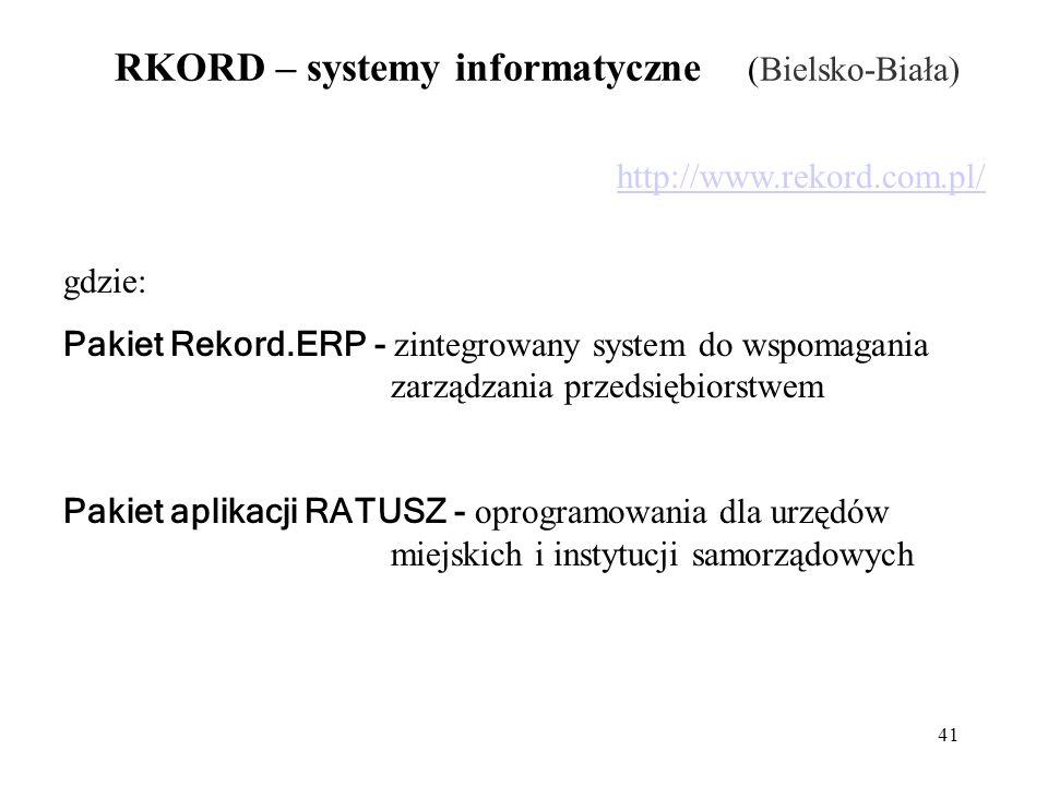 41 RKORD – systemy informatyczne (Bielsko-Biała) http://www.rekord.com.pl/ gdzie: Pakiet Rekord.ERP - zintegrowany system do wspomagania zarządzania przedsiębiorstwem Pakiet aplikacji RATUSZ - oprogramowania dla urzędów miejskich i instytucji samorządowych