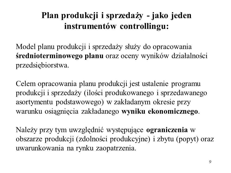 9 Plan produkcji i sprzedaży - jako jeden instrumentów controllingu: Model planu produkcji i sprzedaży służy do opracowania średnioterminowego planu oraz oceny wyników działalności przedsiębiorstwa.