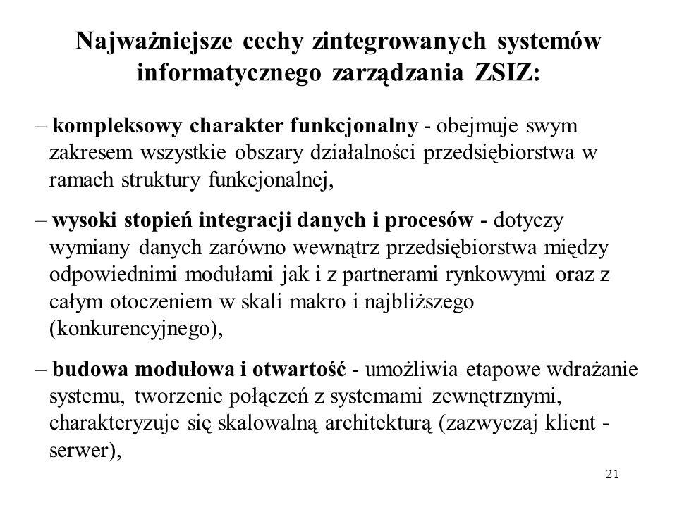 21 Najważniejsze cechy zintegrowanych systemów informatycznego zarządzania ZSIZ: – kompleksowy charakter funkcjonalny - obejmuje swym zakresem wszystk